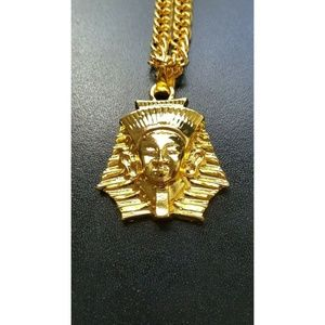 "Other - 14k Gold Pharaoh Pendant 30"" Link Chain Necklace"